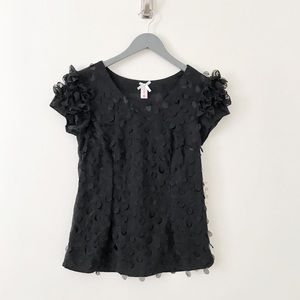DOWNEAST Peforated and Pretty Black Blouse